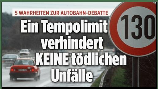 Screenshot Bild.de - Fünf Wahrheiten zur Autobahn-Debatte - Ein Tempolimit verhindert keine tödlichen Unfälle