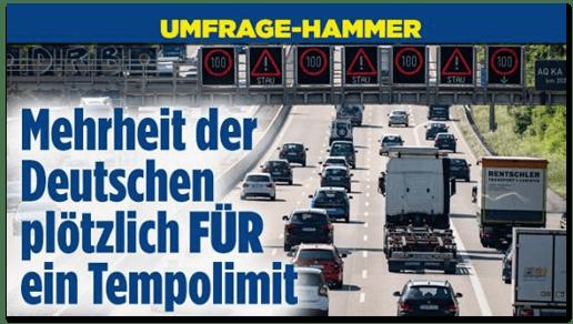Screenshot Bild.de - Umfrage-Hammer - Mehrheit der Deutschen plötzlich für ein Tempolimit