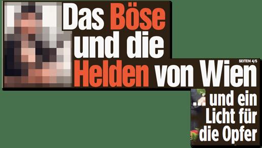 Ausriss Bild-Titelseite - Das Böse und die Helden von Wien ... und ein Licht für die Opfer - dazu zu sehen ein Foto des Attentäters ohne Unkenntlichmachung