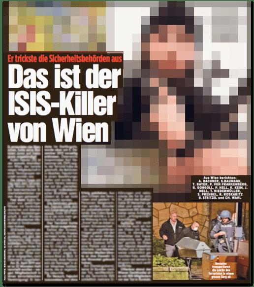 Ausriss Bild-Zeitung - Er trickste die Sicherheitsbehörden aus - Das ist der ISIS-Killer von Wien