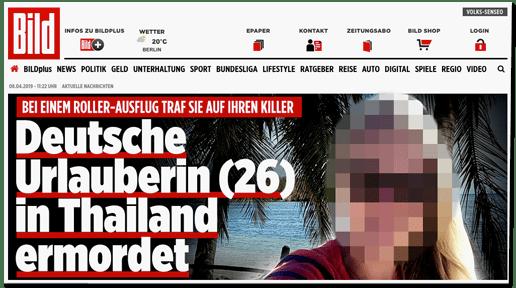 Screenshot Bild.de - Bei einem Roller-Ausflug traf sie auf ihren Killer - Deutsche Urlauberin (26) in Thailand ermordet - dazu ein Foto der getöteten Frau, auf dem diese zu erkennen ist