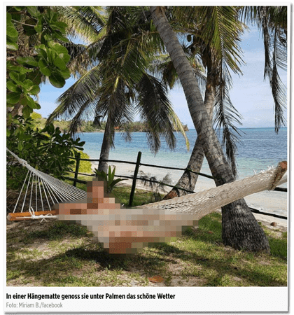 Screenshot Bild.de - Ein Foto der getöteten Frau in einer Hängematte am Strand, auch hier keine Unkenntlichmachung durch Bild.de - Bildunterschrift: In einer Hängematte genoss sie unter Palmen das schöne Wetter