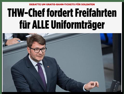 Screenshot BILD.de: Debatte um Gratis-Bahn-Tickets für Soldaten - THW-Chef fordert Freifahrten für ALLE Uniformträger
