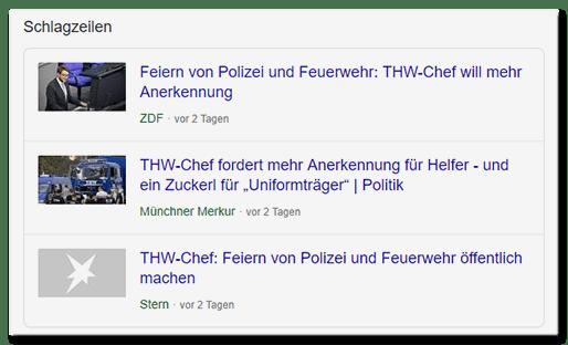 """ZDF: Feiern von Polizei und Feuerwehr: THW-Chef will mehr Anerkennung - Münchner Merkur: THW-Chef fordert mehr Anerkennung für Helfer und ein Zuckerl für """"Uniformträger"""" - Stern: THW-Chef: Feiern von Polizei und Feuerwehr öffentlich machen"""