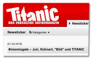 Screenshot Titanic-Website - miomiogate – Juri, Kühnert, Bild und TITANIC