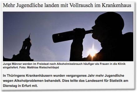 Mehr Jugendliche landen mit Vollrausch im Krankenhaus.  Junge Männer werden im Freistaat nach Alkoholmissbrauch häufiger als Frauen in die Klinik eingeliefert. In Thüringens Krankenhäusern wurden vergangenes Jahr mehr Jugendliche wegen Alkoholproblemen behandelt. Dies teilte das Landesamt für Statistik am Dienstag in Erfurt mit.