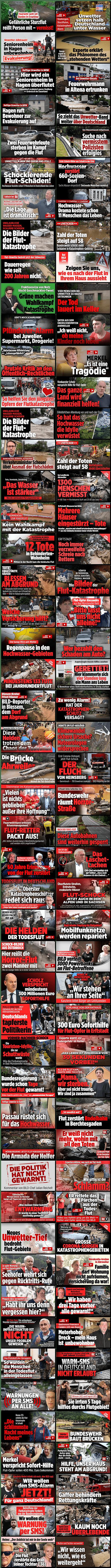 Eine Collage aus 100 BILD.de-Schlagzeilen zur TODESFLUT