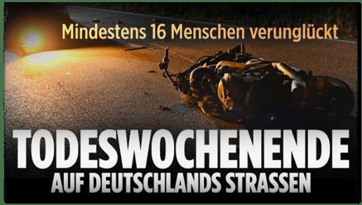 Screenshot Bild.de - Mindestens 16 Menschen verunglückt - Todeswochenende auf Deutschlands Straßen