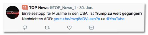 Tweet von Top News - Einreisestopp für Muslime in den USA: Ist Trump zu weit gegangen?