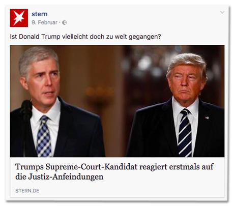 Facebook-Post des Stern - Ist Donald Trump vielleicht doch zu weit gegangen? Trumps Supreme-Court-Kandidat reagiert erstmals auf die Justiz-Anfeindungen