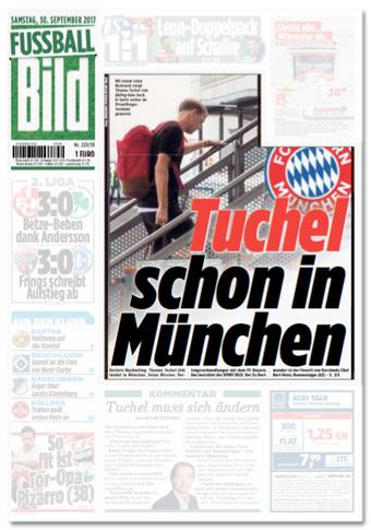 Ausriss der Titelseite von Fußball Bild - Tuchel schon in München