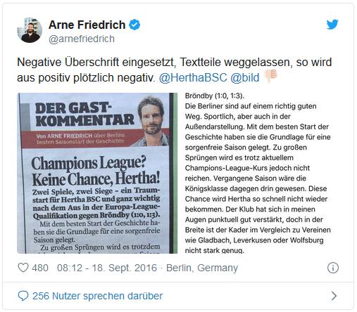 Negative Überschrift eingesetzt, Textteile weggelassen, so wird aus positiv plötzlich negativ. @HerthaBSC @bild Daumen-nach-unten-Emoji