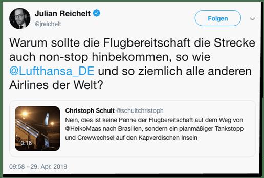 Screenshot eines Tweets von Bild-Chef Julian Reichelt - Warum sollte die Flugbereitschaft die Strecke auch non-stop hinbekommen, so wie Lufthansa und so ziemlich alle anderen Airlines der Welt?