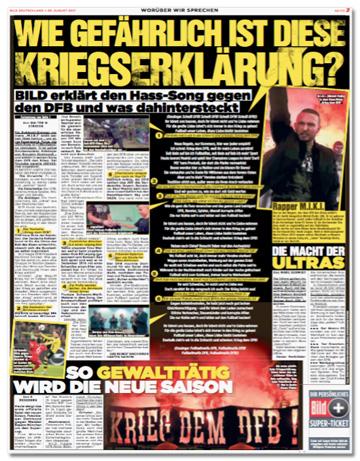 Ausriss Bild-Zeitung - Übersicht über komplette Seite mit drei Artikeln mit den Überschriften Wie gefährlich ist diese Kriegserklärung? So gewalttätig wird die neue Saison. Und Die Macht der Ultras