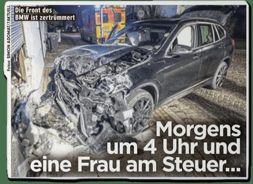 Ausriss Bild-Zeitung - Morgens um 4 Uhr und eine Frau am Steuer - dazu ein Foto des zerstörten Unfallwagens