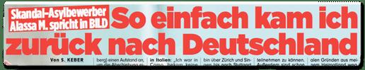 Ausriss Bild-Zeitung - Skandal-Asylbewerber Alassa M. spricht in Bild - So einfach kam ich zurück nach Deutschland