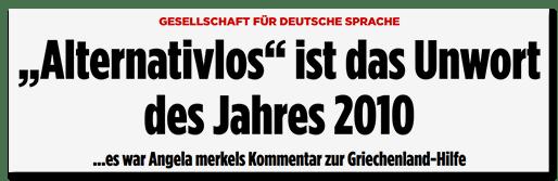 Screenshot Bild.de - Gesellschaft für deutsche Sprache - Alternativlos ist das Unwort des Jahres 2010 - Es war Angela Merkels Kommentar zur Griechenland-Hilfe