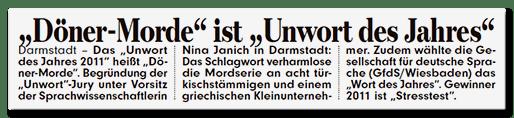 Ausriss Bild-Zeitung - Döner-Morde ist das Unwort des Jahres