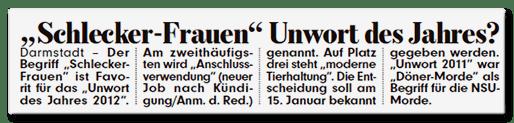 Ausriss Bild-Zeitung - Schlecker-Frauen Unwort des Jahres?