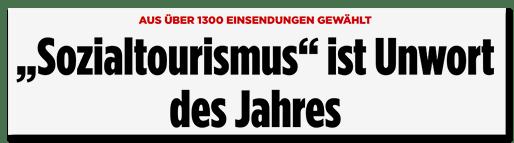 Screenshot Bild.de - Aus über 1300 Einsendungen gewählt - Sozialtourismus ist Unwort des Jahres