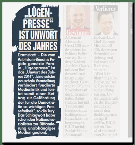 Ausriss Bild-Zeitung - Lügenpresse ist Unwort des Jahres