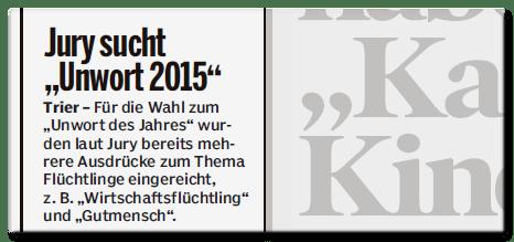 Ausriss Bild am Sonntag - Jury sucht Unwort 2015