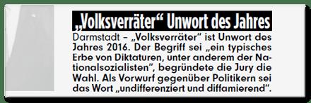 Ausriss Bild-Zeitung - Volksverräter Unwort des Jahres