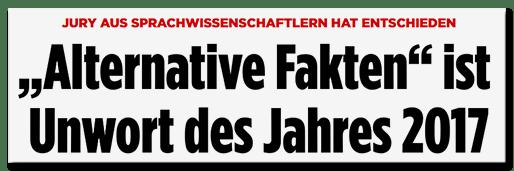 Screenshot Bild.de - Jury aus Sprachwissenschaftlern hat entschieden - Alternative Fakten ist Unwort des Jahres 2017