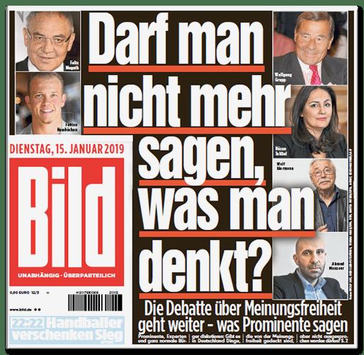 Ausriss Bild-Titelseite - Darf man nicht mehr sagen, was man denkt? Die Debatte über Meinungsfreiheit geht weiter - was Prominente sagen