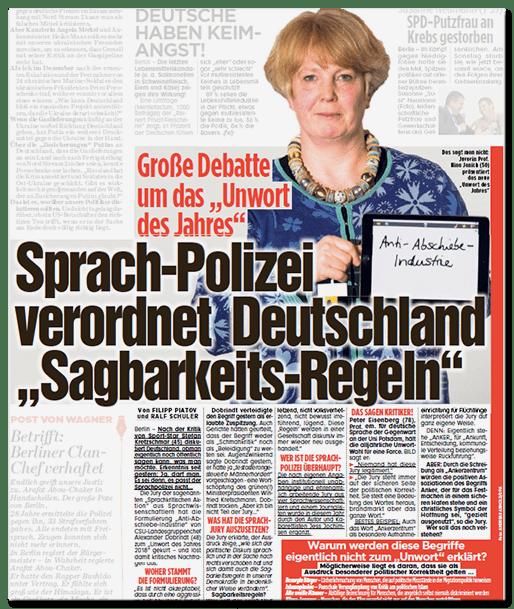 Ausriss Bild-Zeitung - Große Debatte um das Unwort des Jahres - Sprach-Polizei verordnet Deutschland Sagbarkeits-Regeln