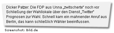 """Dicker Patzer: Die FDP aus Unna """"zwitscherte"""" noch vor Schließung der Wahllokale über den Dienst """"Twitter"""" Prognosen zur Wahl. Schnell kam ein mahnender Anruf aus Berlin, das kann schließlich Wähler beeinflussen."""