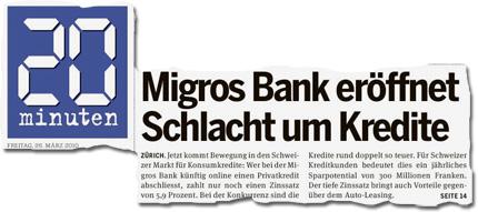 Migros Bank eröffnet Schlacht um Kredite