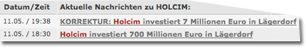 Holcim investiert 700 Millionen Euro in Lägerdorf. KORREKTUR: Holcim investiert 7 Millionen Euro in Lägerdorf