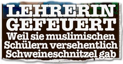 Lehrerin gefeuert weil sie muslimischen Schülern versehentlich Schweineschnitzel gab