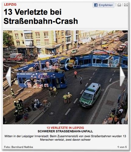 Spektakulärer Straßenbahn-Unfall (Archivbild).