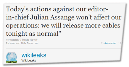 Today's actions against our editor-in-chief Julian Assange won't affect our operations: we will release more cables tonight as normal