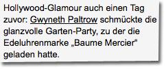 """Gwyneth Paltrow schmückte die glanzvolle Garten-Party, zu der die Edeluhrenmarke """"Baume Mercier"""" geladen hatte."""