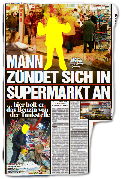 Mann zündet sich in Supermarkt an