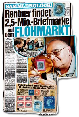 Rentner findet 2,5-Mio.-Briefmarke auf dem Flohmarkt