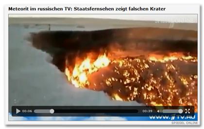 Meteorit im russischen TV: Staatsfernsehen zeigt falschen Krater