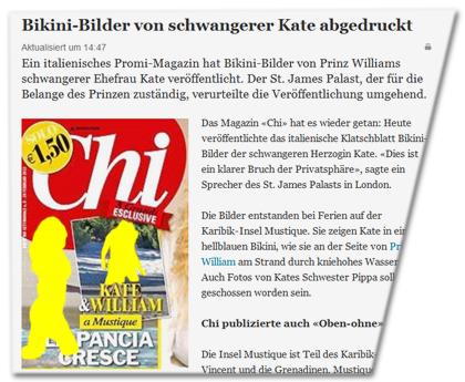 """Bikini-Bilder von schwangerer Kate abgedruckt [bebildert mit der Titelseite, auf der zwei der """"Bikini-Bilder"""" - ohne Unkenntlichmachung - zu sehen sind]"""