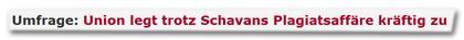 Umfrage: Union legt trotz Schavans Plagiatsaffäre kräftig zu