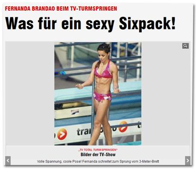 Fernanda Brandao beim TV-Turmspringen - Was für ein sexy Sixpack!