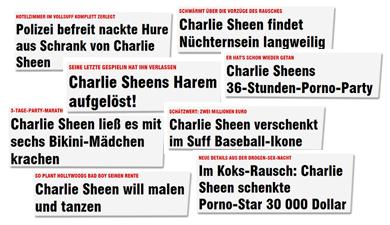 Polizei befreit nackte hure aus Schrank von Charlie Sheen - Charlie Sheen findet Nüchternsein langweilig - Charlie Sheens Harem aufgelöst! - Charlie Sheens 36-Stunden-Porno-Party - Charlie Sheen ließ es mit sechs Bikini-Mädchen krachen - Charlie Sheen will malen und tanzen - Charlie Sheen verschenkt im Suff Baseball-Ikone - Im Koks-Rausch: Charlie Sheen schenkte Porno-Star 30 000 Dollar