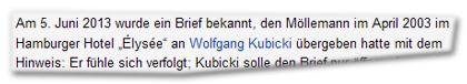 Am 5. Juni 2013 wurde ein Brief bekannt, den Möllemann im April 2013 im Hamburger Hotel