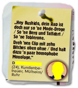"""""""Hey Bushido, dein Rap ist doch nur so 'ne Mode-Droge / So 'ne Berg und Talfahrt / So 'ne Toblerone. Dreh 'nen Clip mit zehn Bitches oben ohne / Und halt dazu 'n paar homophobe Monologe."""""""