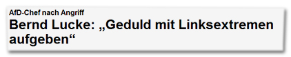 """AfD-Chef nach Angriff - Bernd Lucke: """"Geduld mit Linksextremen aufgeben"""""""