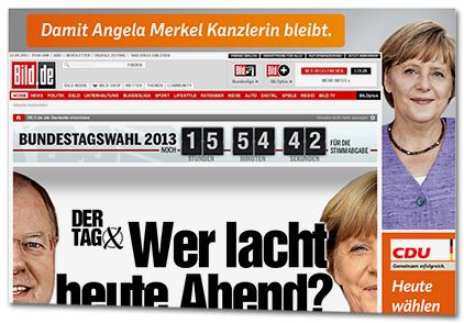 [Startseite von Bild.de am Tag der Wahl. In einer großen Anzeige wird Werbung für die CDU gemacht.]