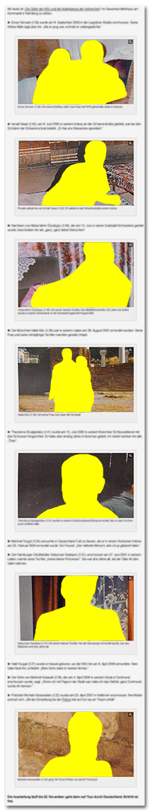 [Bild.de zeigt sieben Fotos der NSU-Opfer.]