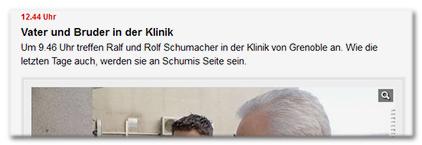 12.44 Uhr - Vater und Bruder in der Klinik - Um 9.46 Uhr treffen Ralf und Rolf Schumacher in der Klinik von Grenoble an. Wie die letzten Tage auch, werden sie an Schumis Seite sein.